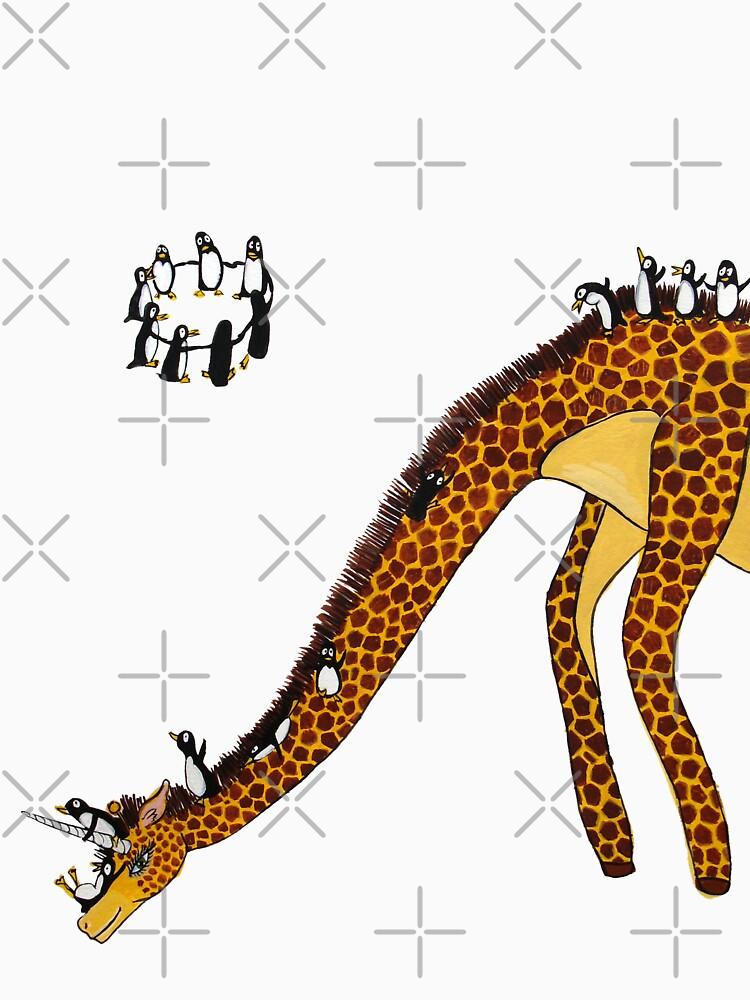 Giraffe Slide Penguins Playing by JeanRim