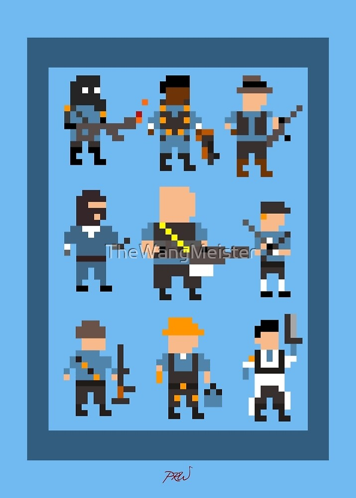 Team Fortress 2 8-Bit Blu Team by TheWangMeister