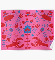 lobster and bug flower pattern Poster