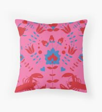 lobster and bug flower pattern Throw Pillow