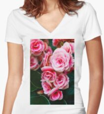 Gentle Blushing Roses Women's Fitted V-Neck T-Shirt
