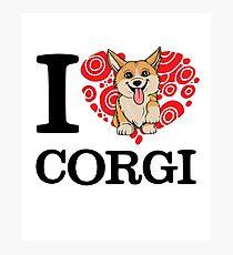I Love Corgi White T-shirt Photographic Print