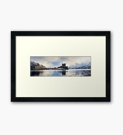 Winter storm, Eilean Donan Castle, Scotland. Framed Print