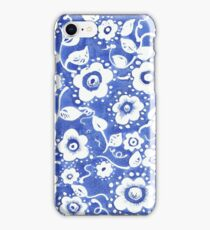 blue and white watercolor flowers iPhone Case/Skin