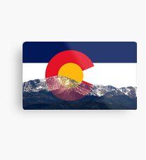 Pikes Peak Colorado Flag Metal Print