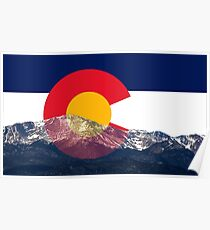 Pikes Peak Colorado Flagge Poster