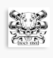 Death Rider Skull with Motorcycle Engine Canvas Print