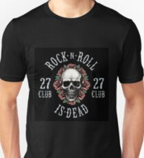 Rock is Dead, Human Skull with Roses Design Unisex T-Shirt