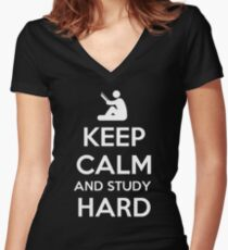 Keep Calm And Study Hard T Shirt Women's Fitted V-Neck T-Shirt