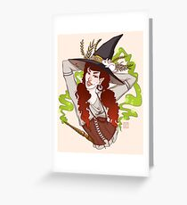 the witch with her mouse Greeting Card