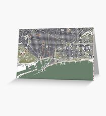 Barcelona city map engraving Greeting Card