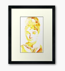 Yellow Watercolour Audrey Hepburn Framed Print
