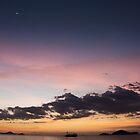 Boat crossing ocean orange violet purple sunset sky. by Eduard Todikromo