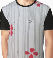Red Flowers, Hearts and Stripes Graphic T-Shirt