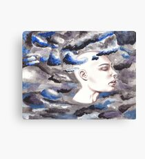 head in the storm clouds Canvas Print