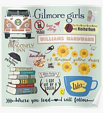 Gilmore Girls Collage, mint green Poster