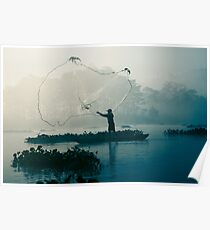 Fisherman casting fishing net in the morning river. Poster