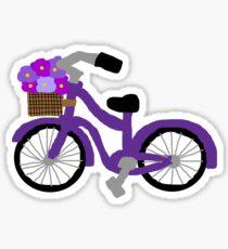 Purple flower basket cruiser bike Sticker