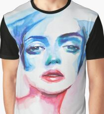 Blue Red Composition Graphic T-Shirt