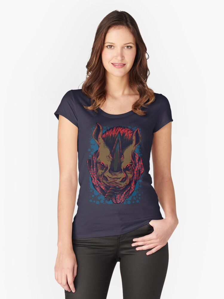 Angry Rhino Women's Fitted Scoop T-Shirt Front