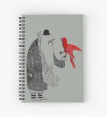 Darwin and red bird Spiral Notebook