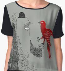 Darwin et oiseau rouge Top mousseline