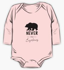 Tribal lettering Never Stop Exploring with wild forest Bear One Piece - Long Sleeve