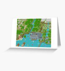16 Bit Pixel Land Greeting Card