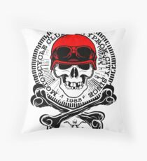 Motorcycle Club, Human Skull in Red Helmet Drawing Throw Pillow