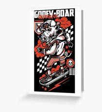 Goofy Boar Dark Greeting Card