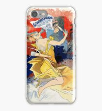 Art nouveau French newspaper ad, woman, satyr iPhone Case/Skin