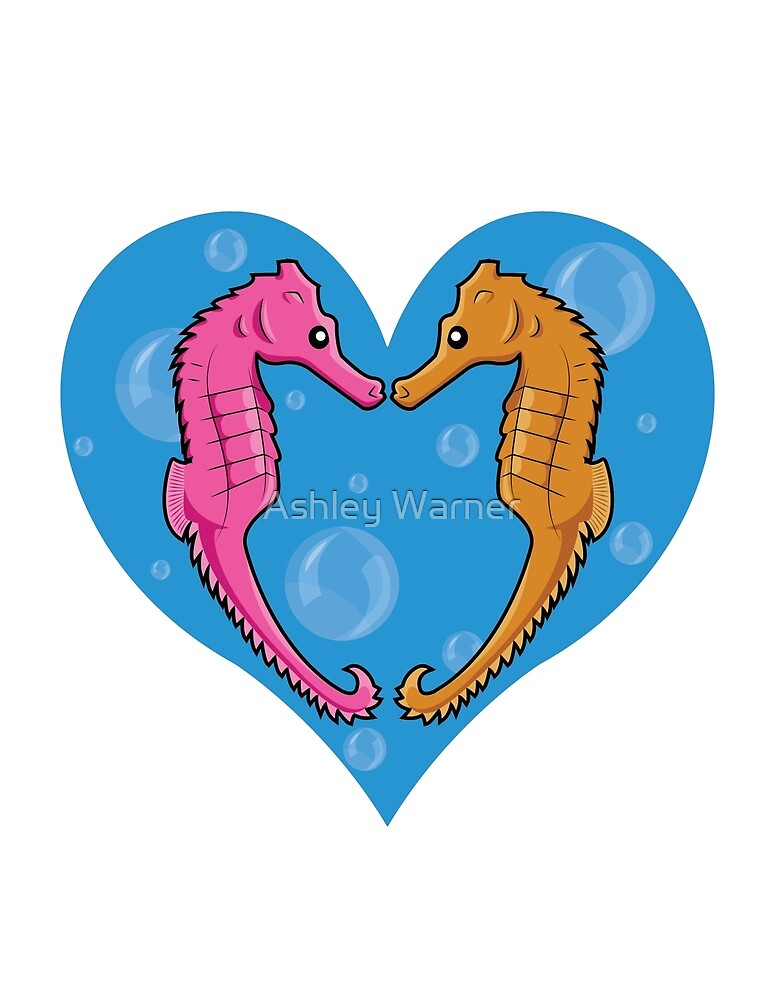 Seahorses in a Heart of Bubbles by Ashley Warner