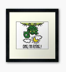 OMG, I'm flying! - Turtle Framed Print