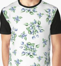 Watercolor Blueberries Pattern Graphic T-Shirt