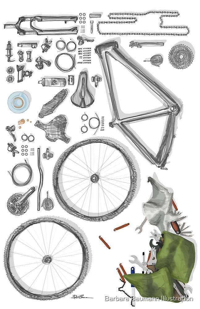 Bike's flatlay von Barbara Baumann Illustration