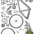 Bike's flatlay von Barbara Baumann Illustration