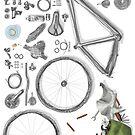 Bike's flatlay by Barbara Baumann Illustration