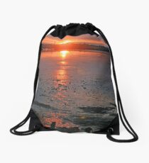 Sundown on the Bay Drawstring Bag