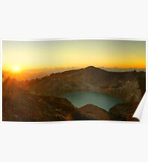 Green turquoise lake in Kelimutu volcano during the morning. Poster