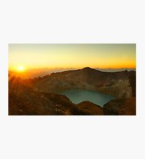 Green turquoise lake in Kelimutu volcano during the morning. Photographic Print