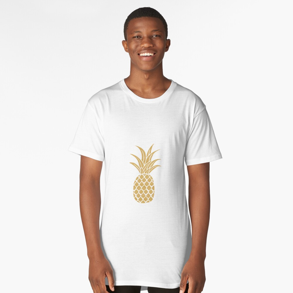 Gold Pineapple  Long T-Shirt Front