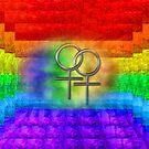 Lesbian Pride Rainbow Art Symbols by Delights