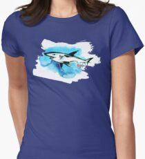 Shark Blue - Watercolor Tattoo Style - Habu-San Womens Fitted T-Shirt