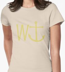 cream W anchor Women's Fitted T-Shirt