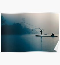 Fisherman casting out fishing net in morning river. Poster