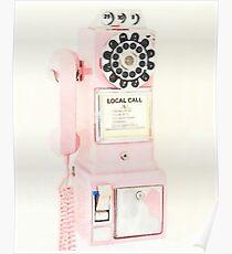 Pink Retro Vintage Telephone Poster