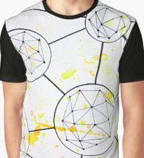 Geometric Connections in Orange and Yellow Graphic T-Shirt