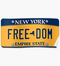 'Freedom' New York License Plate Poster