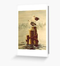 PAIR of GULLS on PILINGS by SHARON SHARPE Greeting Card