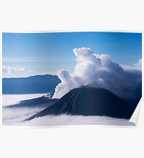 White smoke coming out of mount Bromo. Poster